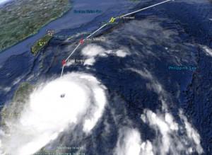 Typhoon Songda heading for Japan